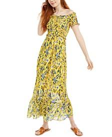 Smocked Floral-Print Midi Dress