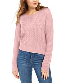 Lace-Up Back Cable Sweater