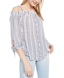 Juniors' Striped Tie-Cuff Off-The-Shoulder Top