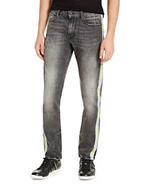 Men's Slim-Fit Reflective Tape Side Stripe Jeans