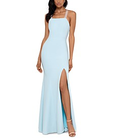 Beaded-Strap Gown