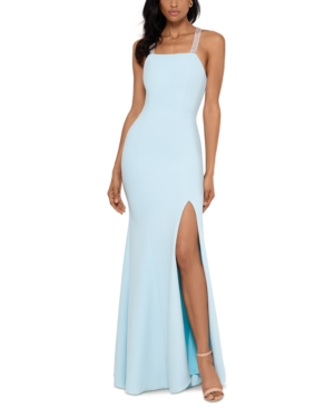 Betsy & Adam Beaded-Strap Gown