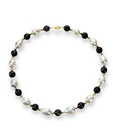 "White Baroque Freshwater Cultured Pearl (12-13mm) with Black Onyx (10mm) and Gold Beads (4mm) 18"" Necklace in 14k Yellow Gold"
