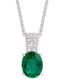 """Green Quartz (2-3/8 ct. t.w.) & Cubic Zirconia 18"""" Pendant Necklace in Sterling Silver"""