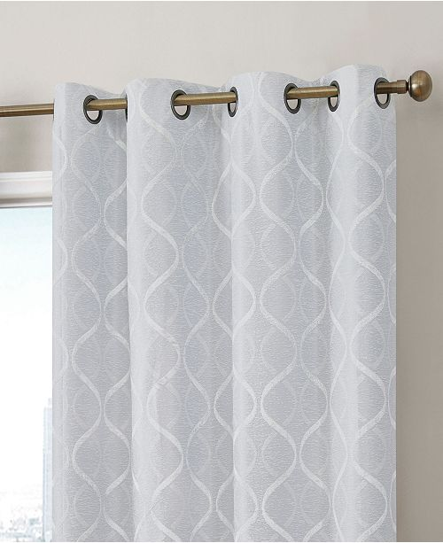 HLC.me Obscura Mackay Lattice Flocked 100% Blackout Grommet Curtain Panels - Set of 2