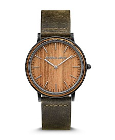 Men's Minimalist Koa Wood Paired with Genuine Leather Band Watch 40mm