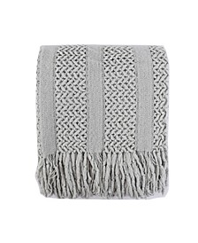 Solid Knit Mesh Tassels Throw