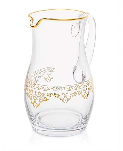 Classic Touch Glass Water Pitcher with Rich Gold-Tone Design