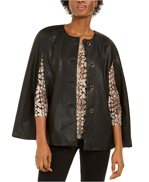 INC International Concepts INC Faux-Leather Cape, Created for Macy's