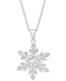 "White Topaz (1/2 ct. t.w.) & Diamond Accent Snowflake 18"" Pendant Necklace in Sterling Silver"