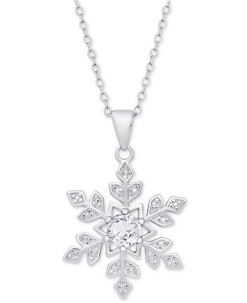 "Macy's White Topaz (1/2 ct. t.w.) & Diamond Accent Snowflake 18"" Pendant Necklace in Sterling Silver"