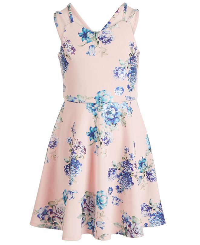 Pink & Violet Big Girls Floral Mikado Skater Dress