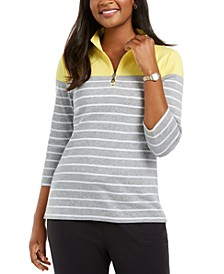 Striped 3/4-Sleeve Zip-Neck Top, Created For Macy's