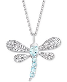 """Blue Topaz (3/4 ct. t.w.) & Diamond Accent Dragonfly 18"""" Pendant Necklace in Sterling Silver"""