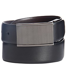 Men's Textured Plaque-Buckle Belt