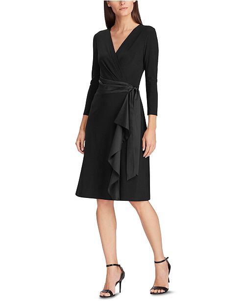 Lauren Ralph Lauren Satin-Ruffle Jersey Dress