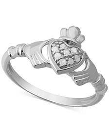 Diamond Claddagh (1/10 ct. t.w.) in Sterling Silver