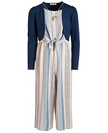 Big Girls 2-Pc. Shrug & Striped Necklace Jumpsuit Set