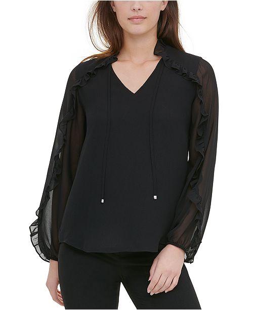 Calvin Klein Tie-Neck Ruffled-Sleeve Blouse