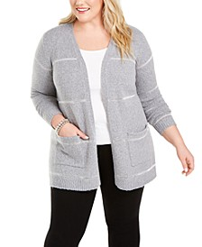 Plus Size Metallic-Stripe Cardigan Sweater