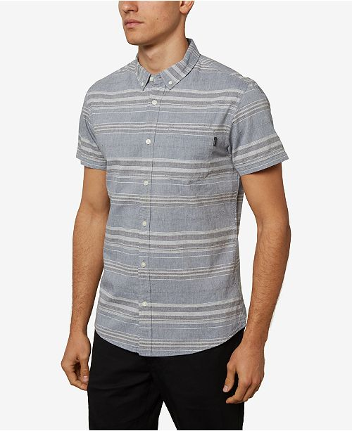 O'Neill Men's Rivera Striped Short Sleeve Button Up Shirt