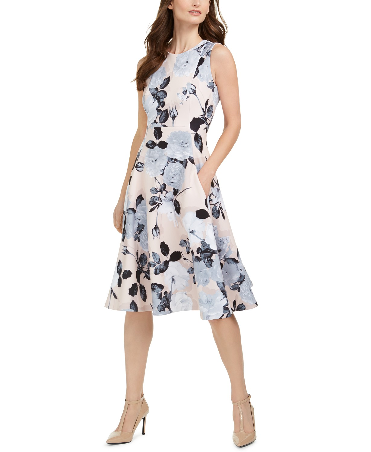 Calvin Klein Floral-Print Fit & Flare Midi Dress