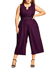 Trendy Plus Size Veronica Belted Jumpsuit