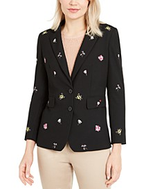 Floral Embroidered Blazer