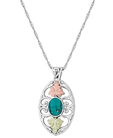 "Turquoise Pendant 18"" Necklace in Sterling Silver with 12K Rose and Green Gold"