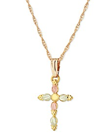Grape and Leaf Cross Pendant in 10k Yellow Gold with 12k Rose and Green Gold