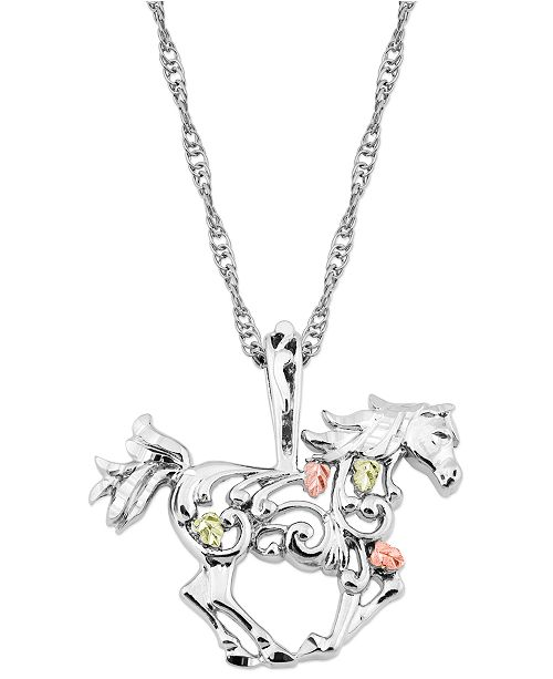 """Macy's Horse Pendant 18"""" Necklace in Sterling Silver with 12K Rose and Green Gold"""