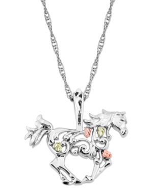 """Horse Pendant 18"""" Necklace in Sterling Silver with 12K Rose and Green Gold"""