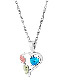 """Swiss Blue Topaz Heart Pendant 18"""" Necklace in Sterling Silver with 12K Rose and Green Gold"""