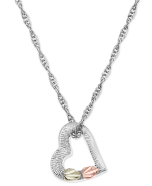 """Floating Heart Pendant 18"""" Necklace in Sterling Silver with 12K Rose and Green Gold"""