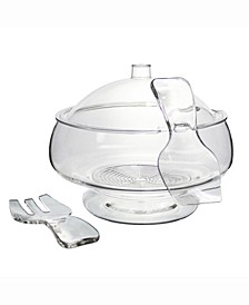 Salad On Ice With Dome Lid Acrylic Salad Bowl and Servers