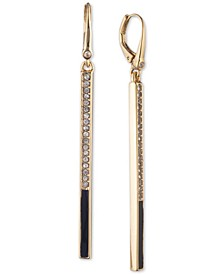Gold-Tone Pavé Bar Linear Drop Earrings