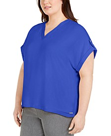 Plus Size Mixed-Media V-Neck Top
