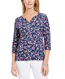 Petite Ditsy-Print Henley Top, Created for Macy's
