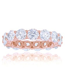 White Cubic Zirconias Eternity Band in 14k Rose Gold Plated Sterling Silver