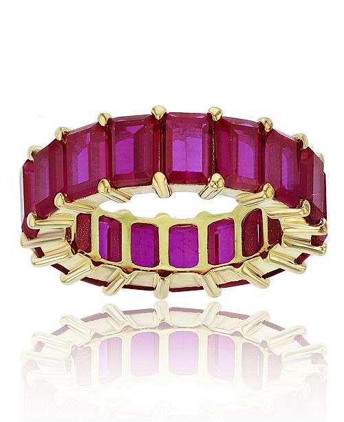 Macy's Red Cubic Zirconia Eternity Band in 14k Yellow Gold Plated Plated Sterling Silver
