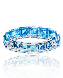 Blue Cubic Zirconia Eternity Band in Rhodium Plated Sterling Silver