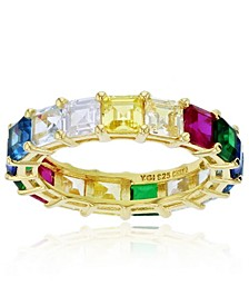 Rainbow Colored Cubic Zirconia Eternity Band in 14k Yellow Gold Plated Plated Sterling Silver