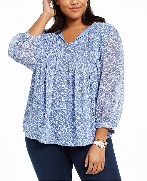 Tommy Hilfiger Plus Size Pintucked Floral-Print Top