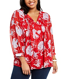 Plus Size Pintuck Floral-Print Top