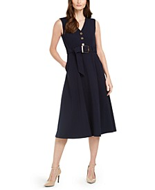 Button-Trim Belted Fit & Flare Dress