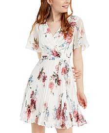 Juniors' Floral Wrap Dress