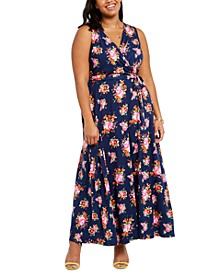 Trendy Plus Size Surplice Floral-Print Maxi Dress