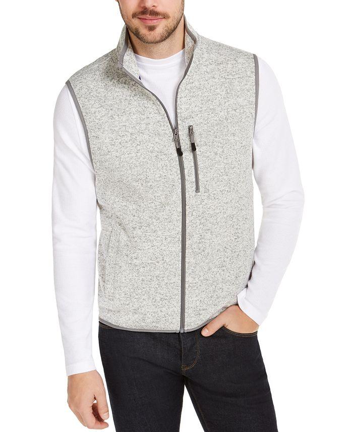 Club Room - Men's Regular-Fit Full-Zip Fleece Sweater Vest