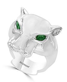 EFFY® Men's Tsavorite Panther Ring in Sterling Silver