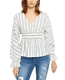 INC Petite Striped Smocked-Waist Top, Created For Macy's